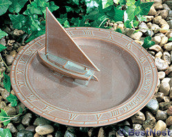 Whitehall Aluminum Sailboat Sundial Bird Bath, Copper Verdi