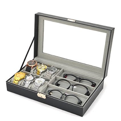 Watchbox 6 Piece Watch Case and 3 Piece Eyeglasses Storage Black Leatherette Combo Jewelry Box and Sunglass Glasses Display Case Organizer