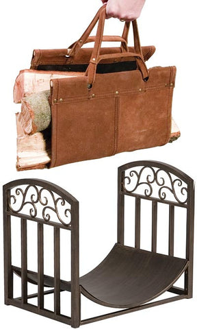 Log Bin with Scrolls and Leather Log Tote Package