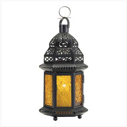 Yellow / Gold Glass Candle Lantern