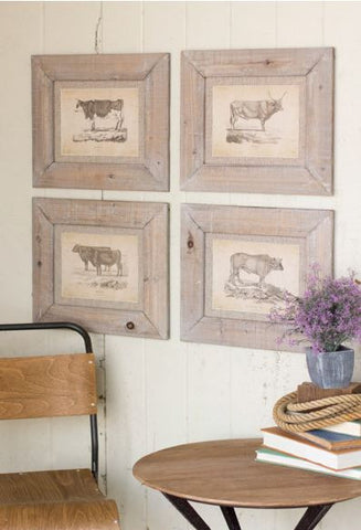 "Kalalou Framed Cow Prints Under Glass (Set of 4) 18x16""t"