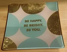 Fringe Be Happy Be Bright Glass Tray