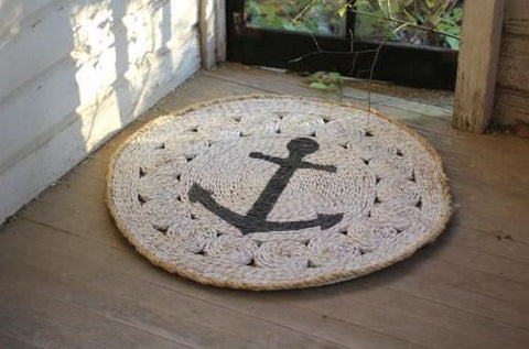 Kalalou Round Rush Mat With Anchor 37""