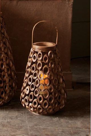 "Small Bamboo Circles Lantern With Glass Cylinder Insert 21""t"
