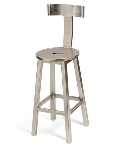 "Go Home 30"" Seat Height Steel Finish Barstool"