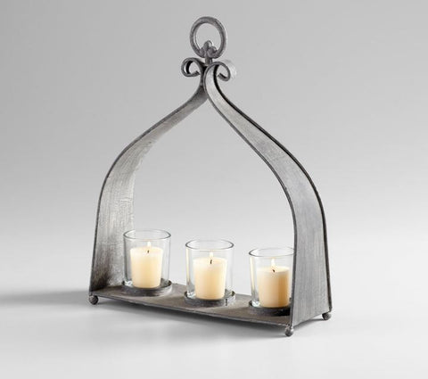 Cyan Rustic Gray Metal 3 Candle Votive Candleholder