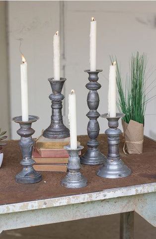 "KALALOU SET OF 5 ZINC CANDLE HOLDERS WITH BRASS DETAIL  tallest 4.5""d x 14""t"