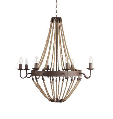 "Go Home Brittany Rope Chandelier 34"" H x 33"" Dia"