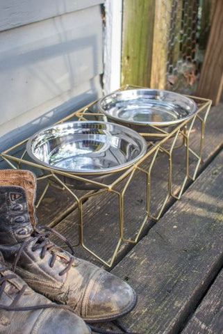Kalalou Double Metal Dog Feeder Large or Small
