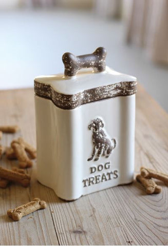 "Kalalou Ceramic Dog Treats Canister 6x10""t"