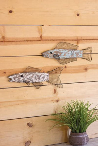 Kalalou Wood And Wire Fish (Set of 2) Wall Sculptures