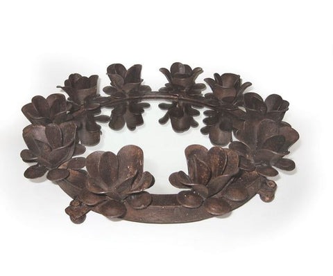 Go Home Round Iron Serving Tray With Candleholders