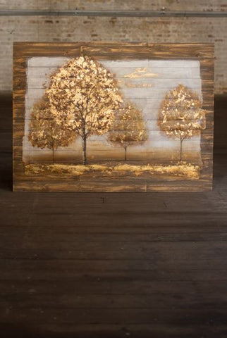 "Kalalou Four Trees On Wooden Slats Oil Painting 47""x35"""