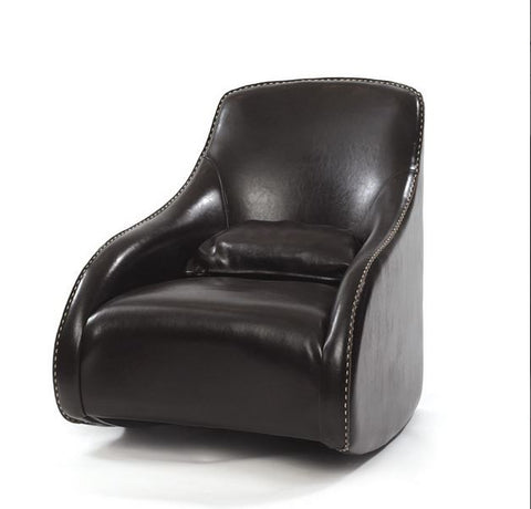 Go Home Dark Contemporary Style Leather Chair (Brown, Tan, Black)