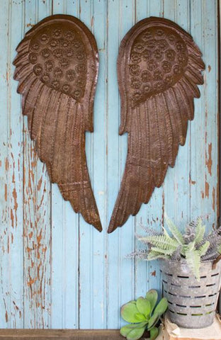 Kalalou Hand Hammered Angel Wings (set of 2)