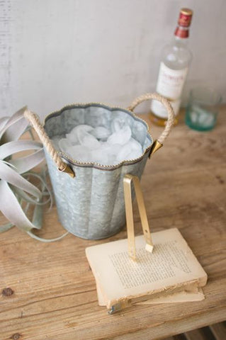 Kalalou Galvanized Ice Bucket With Brass Dot Detail & Rope Handle