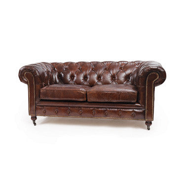 Go Home London Chesterfield Leather Sofa 36x70x31