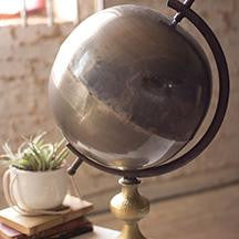 NATURAL METAL GLOBE ON A STAND 12.5x22""