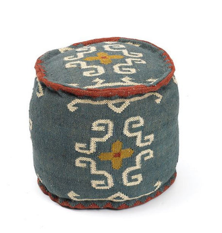 Go Home Round Tribal Kilim Pouf