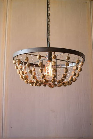 "KALALOU ROUND METAL BASKET PENDANT LIGHT WITH WOODEN BEADS  18""d x 9""t"