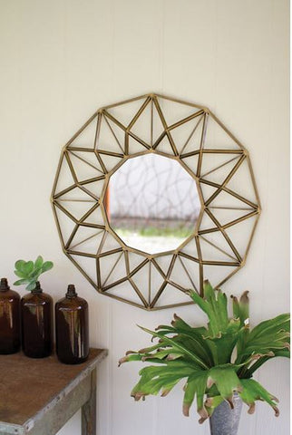 KALALOU ANTIQUE GOLD ROUND METAL MIRROR 33""