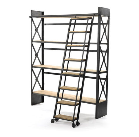 "Go Home Loft Bookcase With Ladder 68.5""l x 84""h"