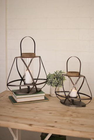 Kalalou Metal Strap Glass Lanterns (Set of 2) 24t and 20t
