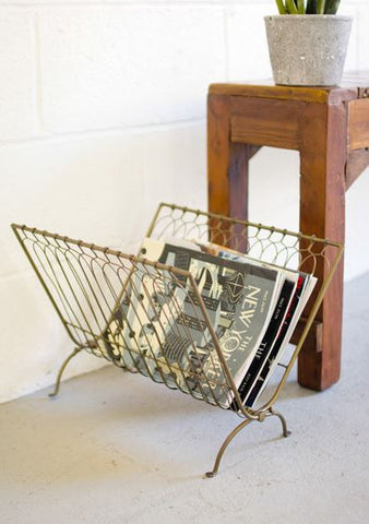 Kalalou Antique Brass Folding Wire Magazine Rack