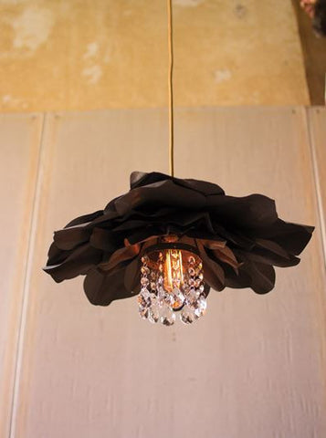 Kalalou Metal FLower Pendant Light with Glass Gems 20dx9t