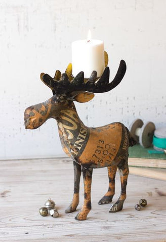 "RECYCLED METAL MOOSE CANDLEHOLDER  4"" x 11.5"" x 15""t"