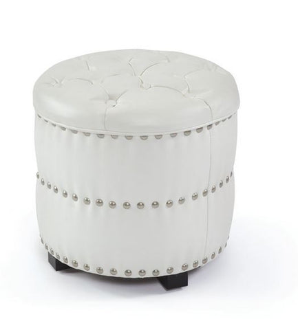 "Go Home Louisa Leather Nailhead Ottoman 17.5hx18""diam"