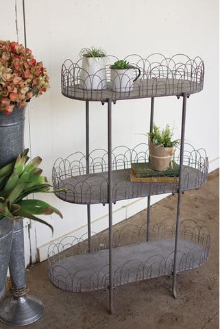"KALALOU THREE TIERED METAL SHELVING UNIT WITH WIRE DETAIL 32"" x 14"" x 43.5""t"