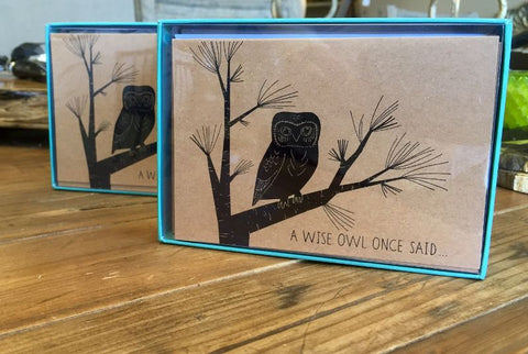 Fringe Boxed Owl Foiled Thank You Note Cards