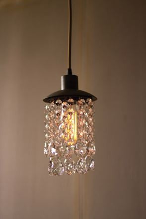 Kalalou Metal Pendant Light With Crystals