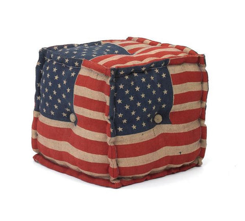 Stars & Stripes Pouf-Square 15.5x16""