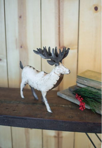 "Kalalou White Recycled Metal Deer Small 15.5""t"