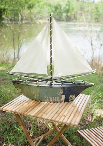 Kalalou Recycled Iron Sail Boat 34t x 35w