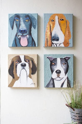 Kalalou Set Of 4 Dogs Oil Painting