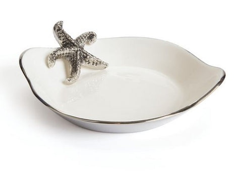 Go Home Dudley Dish (Set of 2) Nickel and Porcelain