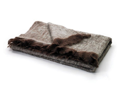 Go Home Brown & Beige Mohair Throw 6ftx4ft