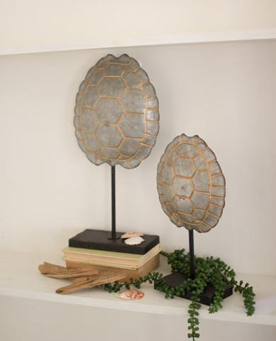 Kalaou Galvanized Turtle Shells On Stands (Set of 2)