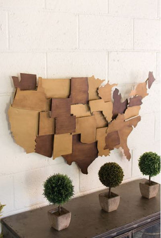 KALALOU PAINTED METAL USA WALL SCULPTURE 22.5x39""