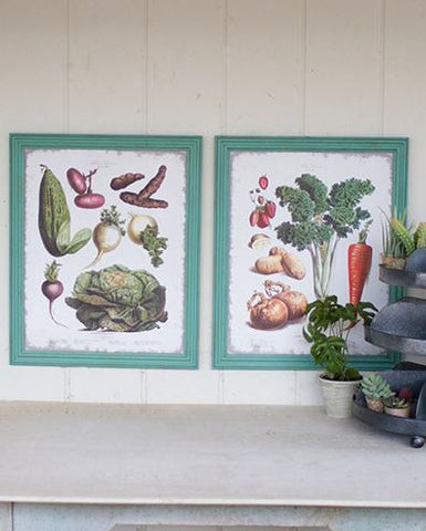 Kalalou Veggie Prints In Green Frames (Set of 2) 19x24""