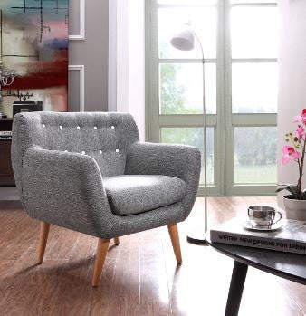 VIG Divani Casa Albany Modern Grey & White Fabric Accent Chair
