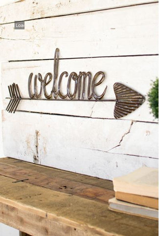 "Kalalou Hand Hammered Welcome Sign With Arrow 27""w"