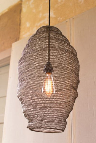 Old Gold Wire Basket Pendant Lamp