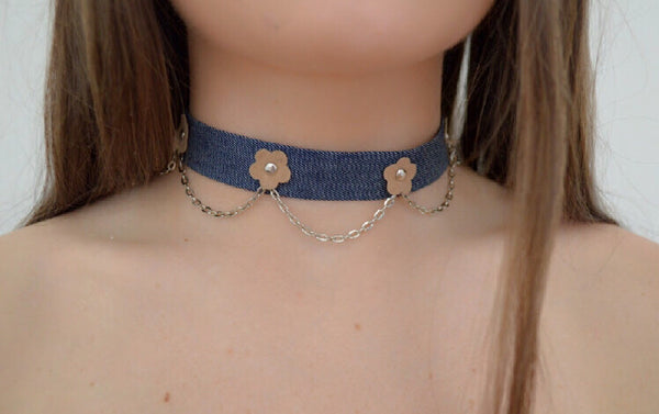 Denim Flower Chain
