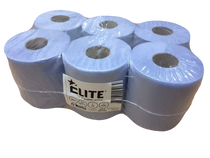 Elite™ 2 Ply Embossed Blue Centrefeed Paper Wipe Rolls 6 Pack