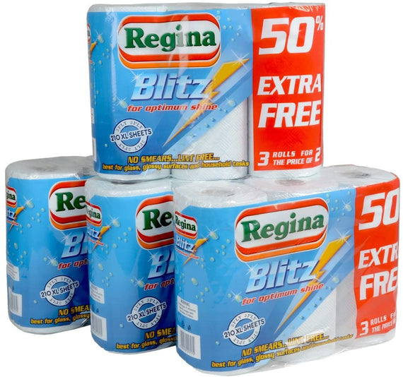 Regina™ Blitz 3ply Kitchen Roll Paper Towel 12 Rolls