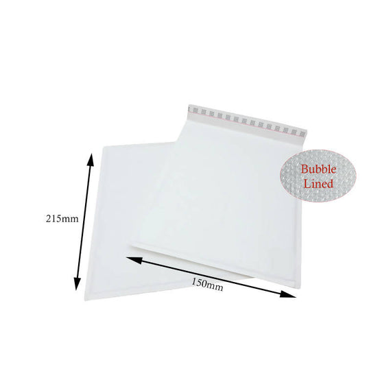 100 x White Postal Bubble Envelopes 150mm x 215mm (C/0)